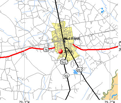 Mullins, SC (29574) map