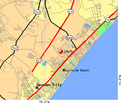 Surfside Beach, SC (29575) map