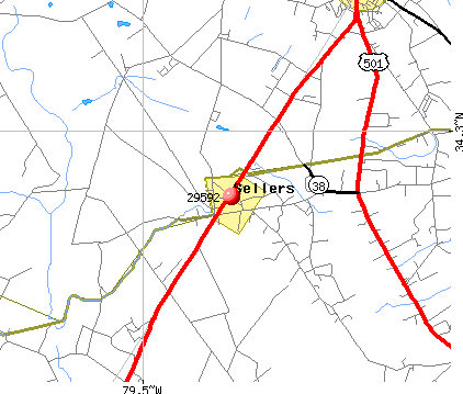 Sellers, SC (29592) map