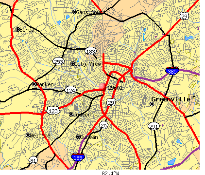 Greenville, SC (29601) map