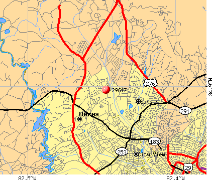 Berea, SC (29617) map