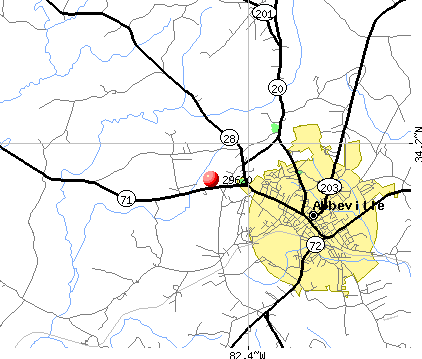 Abbeville, SC (29620) map