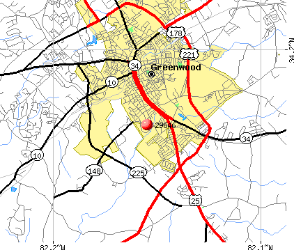 Greenwood, SC (29646) map