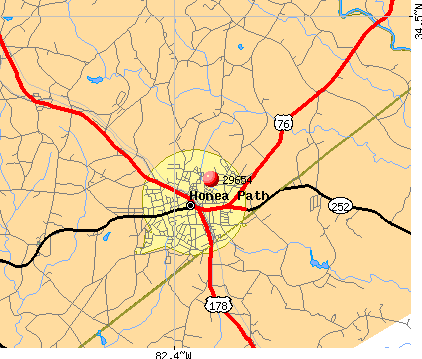 Honea Path, SC (29654) map