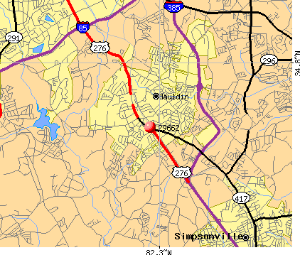 Mauldin, SC (29662) map. Nearest zip codes: 29681, 29607, 29680, 29605,