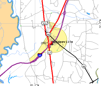 Hardeeville, SC (29927) map
