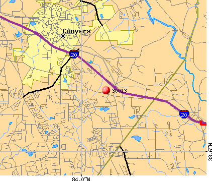 Conyers, GA (30013) map