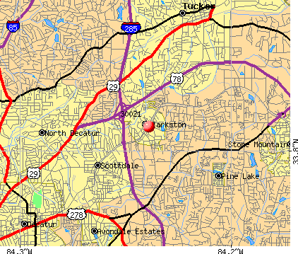 Clarkston, GA (30021) map