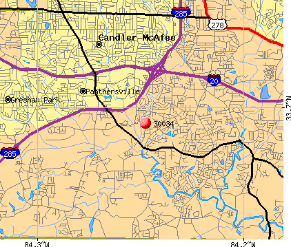 Panthersville, GA (30034) map