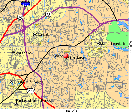 Pine Lake, GA (30072) map