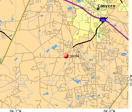 Conyers, GA (30094) map