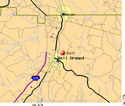Ball Ground, GA (30107) map