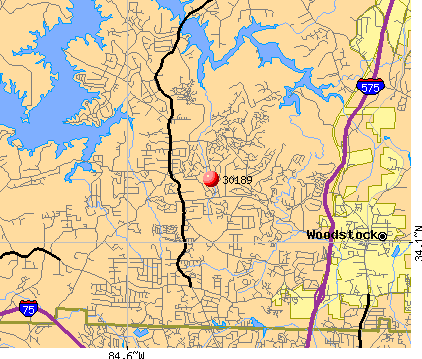 Woodstock, GA (30189) map
