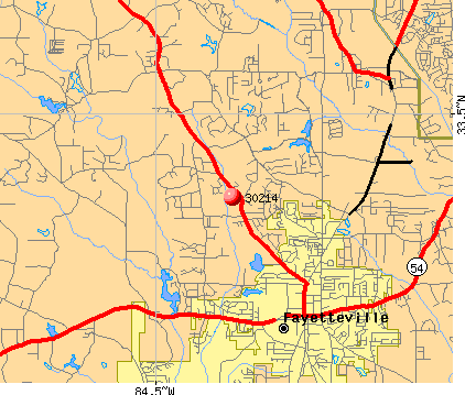 Fayetteville, GA (30214) map