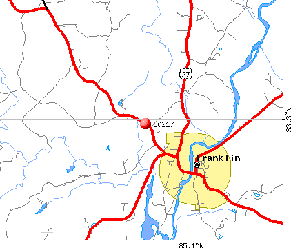 Franklin, GA (30217) map