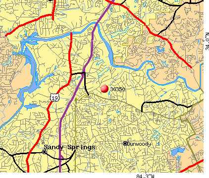 Sandy Springs, GA (30350) map
