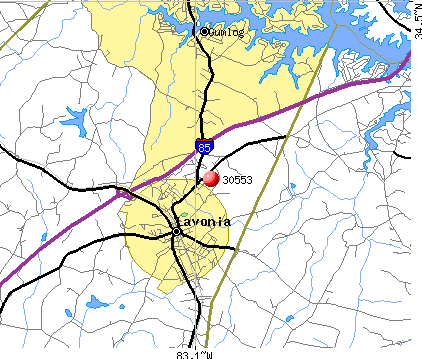 Gumlog, GA (30553) map