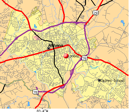 Athens Georgia Zip Code Map