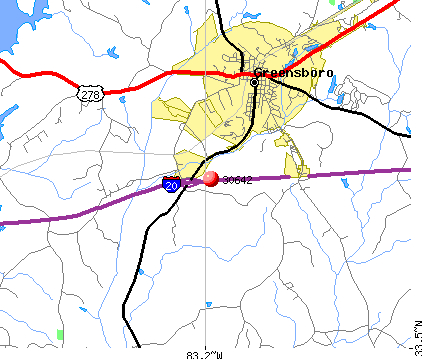 Greensboro, GA (30642) map