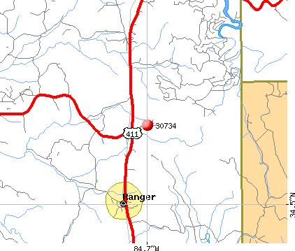 Ranger, GA (30734) map
