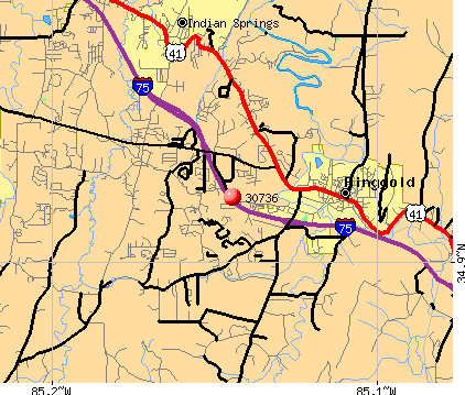 Fort Oglethorpe, GA (30736) map