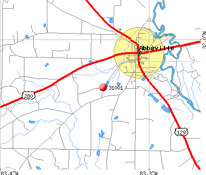 Abbeville, GA (31001) map