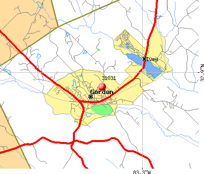 Gordon, GA (31031) map
