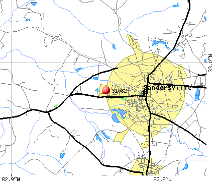 Sandersville, GA (31082) map