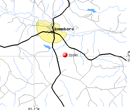 Toomsboro, GA (31090) map