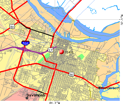 Savannah, GA (31401) map