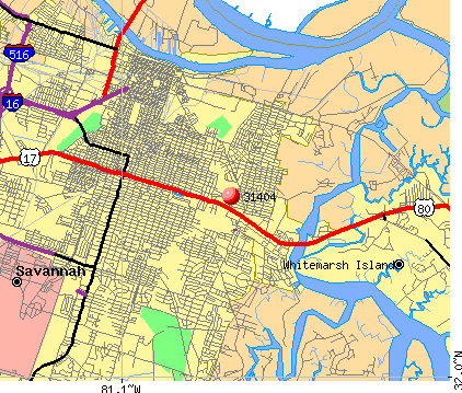 Savannah, GA (31404) map