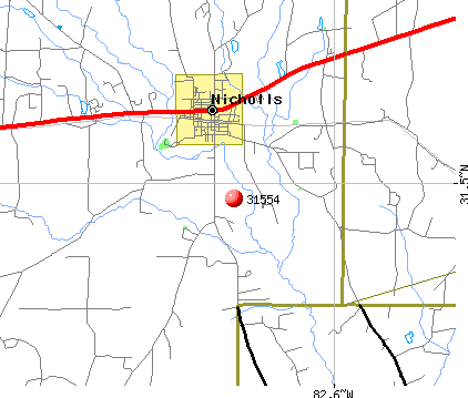 Nicholls, GA (31554) map