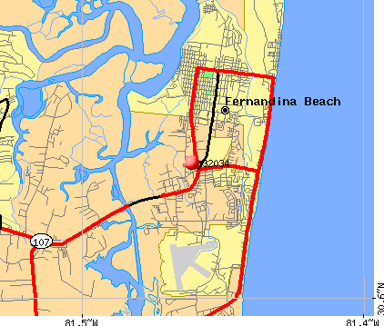 Fernandina Beach, FL (32034) map