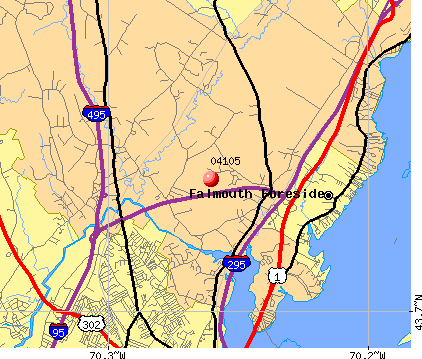 Falmouth Foreside, ME (04105) map