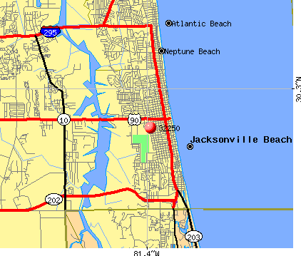 Jacksonville Beach, FL (32250) map
