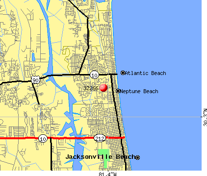 Neptune Beach, FL (32266) map