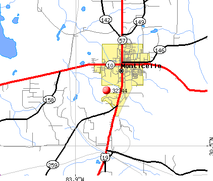 Monticello, FL (32344) map