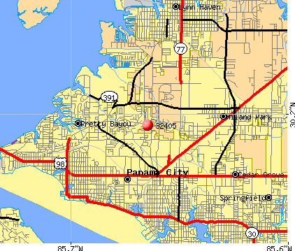 Panama City, FL (32405) map