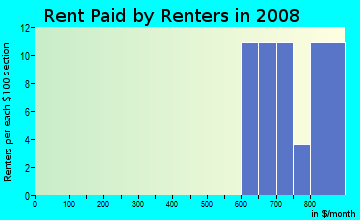 Rent paid by renters in 2009 in Raintree Village in Clearwater neighborhood in FL