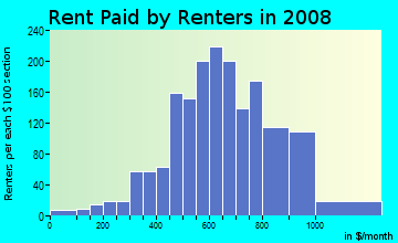 Rent paid by renters in 2009 in George Bush International Airport in Houston neighborhood in TX