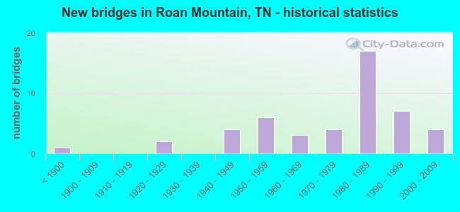 New bridges in Roan Mountain, TN - historical statistics
