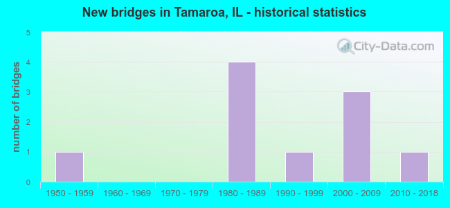 New bridges in Tamaroa, IL - historical statistics