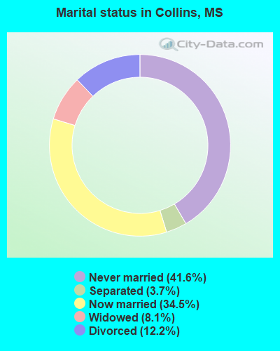 Marital status in Collins, MS