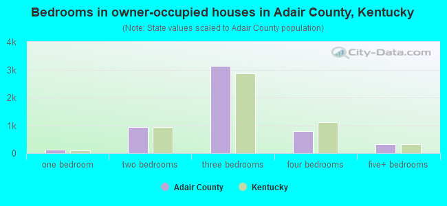 Bedrooms in owner-occupied houses in Adair County, Kentucky