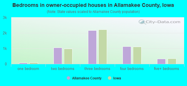 Bedrooms in owner-occupied houses in Allamakee County, Iowa