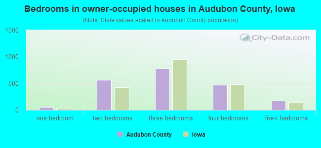 Bedrooms in owner-occupied houses in Audubon County, Iowa