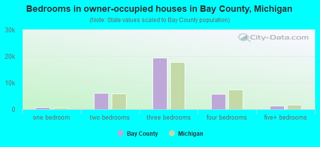 Bedrooms in owner-occupied houses in Bay County, Michigan