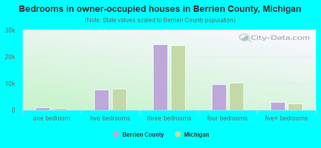 Bedrooms in owner-occupied houses in Berrien County, Michigan