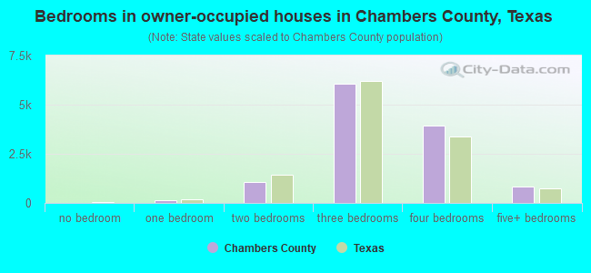 Bedrooms in owner-occupied houses in Chambers County, Texas