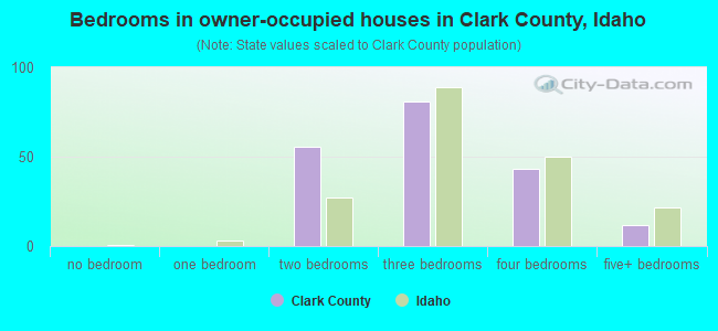 Bedrooms in owner-occupied houses in Clark County, Idaho